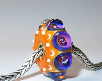 Luccicare Lampwork Bead - Fiesta - FOCAL -  Lined with Brass