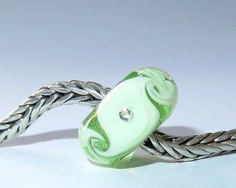 Luccicare Lampwork Bead - Diamond Twist - Lined with Sterling Silver