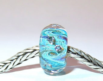 Luccicare Lampwork Bead - Nebula Diamonds III - Lined with Sterling Silver