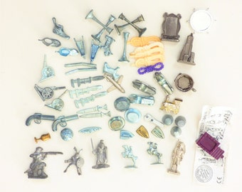 Monopoly game pieces Lot 57 altered art mixed gold silver colors Replacement Parts Collectible Pewter Tokens game play