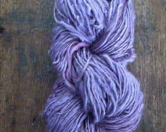 Soft Lilac bamboo silk yarn, vegan handspun yarn, 58 yards, bulky weight handspun, plant dyed vegan yarn,