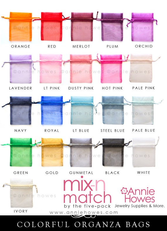 25 Colorful Organza Bags. Choose your Colors. 3x4 Inch. OB3X4