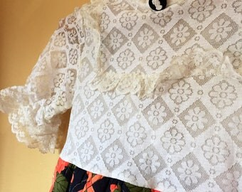 Vtg 1970s Sears Lace and Floral Maxi Dress for little love 2-3-4 years old