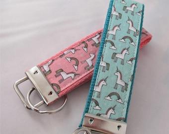 KeyFob Key Chain Wristlet in - Unicorns and Rainbows in Coral Pink or Teal/Aqua - Fabric Keychain