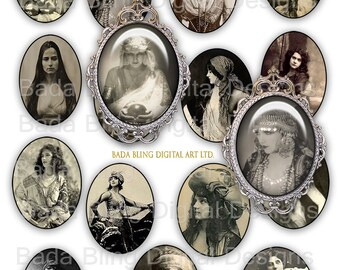 Fortune Tellers, Mystics Gypsies,   vintage french photos, digital collage sheets..INSTANT  Digital Download at Checkout