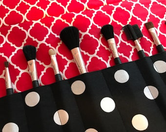 Makeup brush roll, makeup brush case, crochet hook case, pencil case, crochet hook roll,