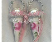 2 Tussie Mussies Hand Painted  Pink Roses Christmas