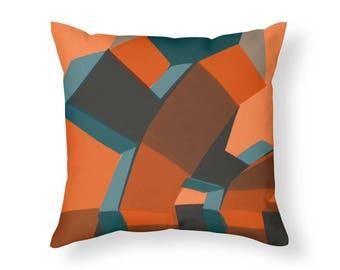 Mid Century Modern Cubist Design Transformers 1 Throw Pillow