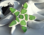 Sea glass starfish magnet - Starfish magnet - Lime green sea glass magnet - Starfish gift - Sea glass starfish - Stocking - Teacher gift ide