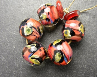 CrazyCatGlass Lampwork Boro Glass Beads Handmade Coral Cat Rounds