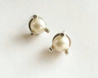 Minimalist Large Prong Stud Earrings. Sterling Silver Pearl Stud Earrings.