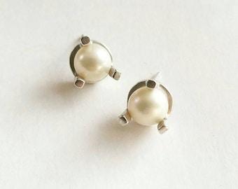 Minimalist Large Prong Stud Earrings. Sterling Silver Pearl Stud Earrings.