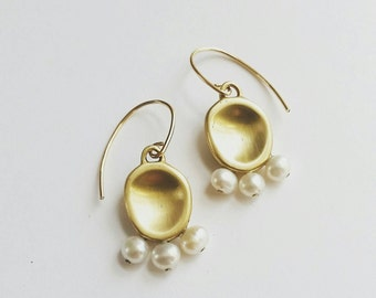 Gold Drop Amulet Earrings. Gold drop freshwater pearl  earrings. 14K Gold Fill Pearl Drop Earrings. Statement bridal earrings.