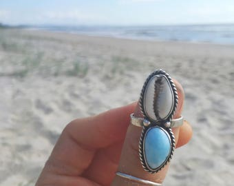 Larimar mermaid ring // size 8.25 // one of a kind // made in byron bay // recycled sterling silver