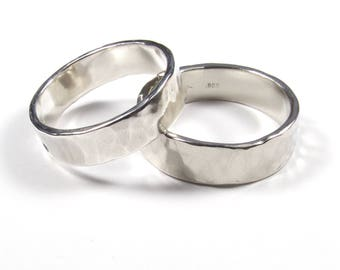 Matching Wedding Rings, His and Hers Rings, Hers and Hers Rings, His and His Rings, Rustic wedding bands, Hammered Rings, Hand Made Rings
