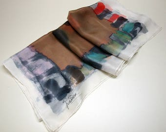 Silk scarf Handpainted - Hand Painted square Silk Scarf -Woman scarf - Ooak scarves -  35x35in. (90x90cm)