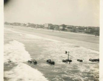 vintage photo snapshot 1920 Barrels of Liquor Float Old Orchard Maine Shoreline