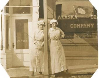 vintage photo 1920 Alaska Coal Co Two Working Women out Front trim RPPC
