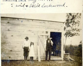 vintage photo 1912 Lorraine Wisconsin David & Will Lockwood w Axe Boy Girl