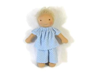 Doll pajamas, blue and white polka dot PJs for thin 8 inch waldorf doll, waldorf pajamas