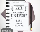Personalized Printable Ring Bearer Card - Will You Be My Ring Bearer? - Wedding Stationery