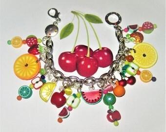 Fruit Bracelet, Charm Bracelet, Summer, Jewelry, Fruit, Tropical, Tutti Frutti, Fruity, Carmen Miranda, Watermelon, Kiwi, Orange, Strawberry