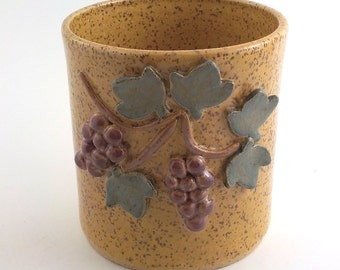 Wine Bottle Crock - Stoneware Wine Chiller - Open Utensil Jar - Ready to Ship - Speckle Straw Gold with Grape Cluster and Leaf Design   v603