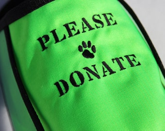 2 XL neon green PLEASE DONATE Fundraising Dog Vests with large clear pockets for donations, reserved listing for Heather Burns