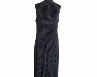 Vintage 1990s Sleeveless Turtleneck Polka Dot Maxi dress size L