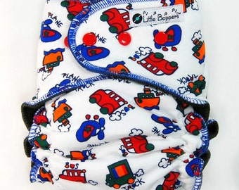 AI2 Cloth Diaper Made to Order - Whimsical Vehicles - You Pick Size & Style - Custom Cloth Nappy - Transportation Trucks Boats Bus Planes