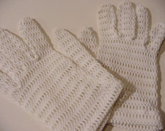 Vintage Fishnet White Gloves stretchy nylon smallish to medium-ish short glove | mori Lolita pixie Burlesque