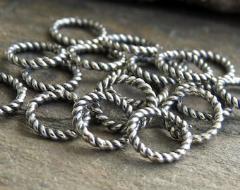 Bali Sterling Silver 7mm Oxidized 18g Twist Ring : 10 or 25pc Twist 925 Silver Closed Jump Ring
