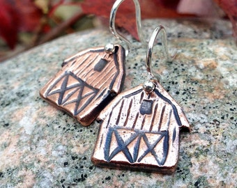Little Copper Barn Earrings, Copper Barns on Sterling Silver ear wires, Rustic Barn Jewelry, Gift for her, equestrian gift
