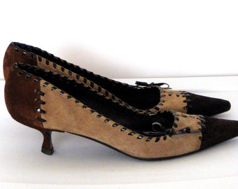 Prada Shoes Sz 9.5/ Brown/Taupe Suede Shoes/ Vintage Pumps/ Kitten Heel/  1990's