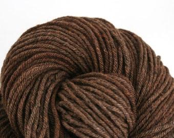 Hand Dyed Aran weight mini Empire Rambouillet Wool 213 yds 4oz Dark Roast