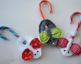 Christmas Stocking Stuffer Mouse Candy Cane Holder Ornament