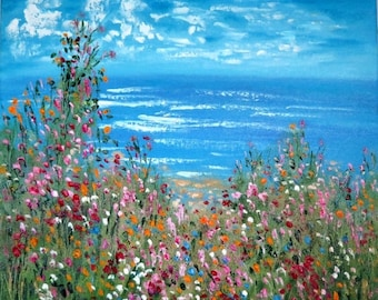 Merry Christmas Sale 15% Original oil painting 20 x 20 x 1- Ocean Flowers   - FREE SHIPPING in Us