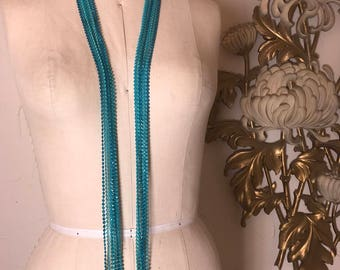 1960s necklace beaded necklace flapper style turquoise plastic vintage necklace extra long necklace