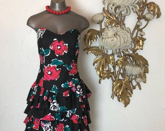 1980s dress strapless dress jay jacobs size medium vintage dress ruffled dress black and red smocked dress