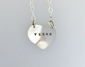 Vegan Heart Necklace-Valentines-Vegan Jewelry-Gift-Birthday-Anniversary-Wedding-Eco Friendly-Personalized
