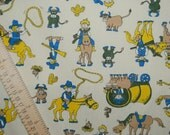 VINTAGE 70s FABRIC novelty cowboy kids western fabric poly cotton blend