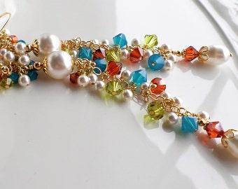 White Pearl Earrings Long Pearl Swarovski Crystal Rainbow Earrings Blue Green Red Orange Crystal Long Wedding Bridal Dangle Cluster Earrings