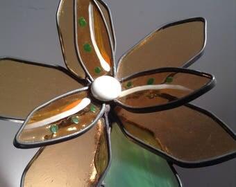 Peach, orange and green 3-D medium stained glass garden flower - Birthday, Gift, Anniversary, Valentine'e Day, Diane Michele Volrathg
