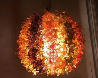 Lampwork light fixture, glass light fixture, light fixture, glass home decor, fire ball SRA