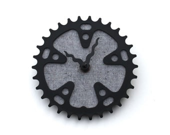 Bicycle Gear Clock - Gray Tweed | Bike Clock | Wall Clock | Recycled Bike Parts Clock
