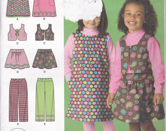 Simplicity 2483 Toddler Girls Jumper Skirt Pants and Vest Sewing Pattern Sizes 2-6X Out of Print UNCUT