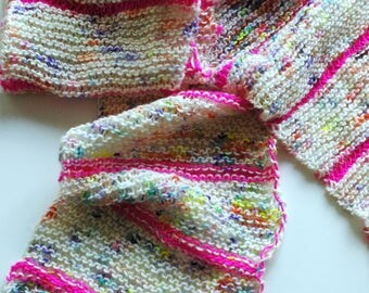 NEON WONDER SCARF - ooak hand knit oblong thin scarf multiple seasons neon pink with speckled cream 100% merino wool