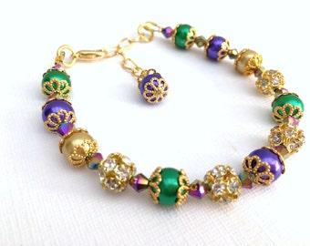 Mardi Gras Jewelry, Purple Green Gold Bracelet, Pearl and Rhinestone, Festival Jewelry, Single Strand Bracelet, Mardi Gras Colours, Sparkle