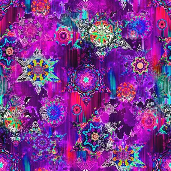 Textile Artist Made Decor Kona Cotton Fabric Quilting Kaleidoscope Purple Sky Stars