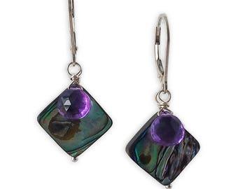 Abalone Amethyst Drop Earrings, Gemstone Drop Earrings, Purple Drop Earrings, Carrie Whelan Designs